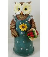 "Anthropomorphic Owl Figurine 9"" Resin Green Dress - $19.79"