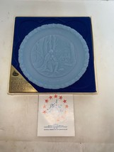 """Fenton Authentic Handmade 8"""" Blue Plate """"In God We Trust""""  #3 In Series - $10.00"""