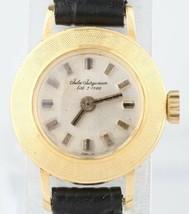 Vintage 18k Oro Giallo Jules-Jurgensen Donna Mano-Avvolgimento Watch Pelle Band - $474.02