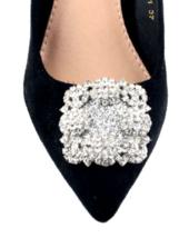 2 Pcs Clear Rhinestone Crystal Wedding Bridal Silver Shoe Clips - $12.86