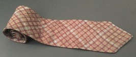 Bill Blass Country Tie Rustic Earthy Plaid Gray Yellow Red Necktie Neckwear - $9.89