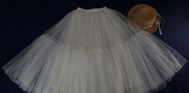 Long White Tulle Skirt WHITE Wedding Tulle Skirt Puffy Layered Polka Dot Pattern image 7
