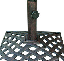 Umbrella Base Stand Cast Aluminum 50Lbs Nassau Weave Bronze image 3