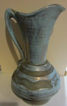 Vintage Stangl turquoise gold art pottery pitcher - $57.00