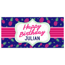 Navy and Pink Pineapple Happy Birthday Banner P... - $22.50