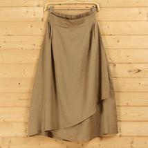 Cotton Linen Wrap Skirts Women A Line Long Casual Skirt, Khaki Army Green Black image 2