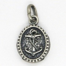 Silver Pendant 925, Burnished and Satin, Medal with Anchor Shaped and Frame image 2
