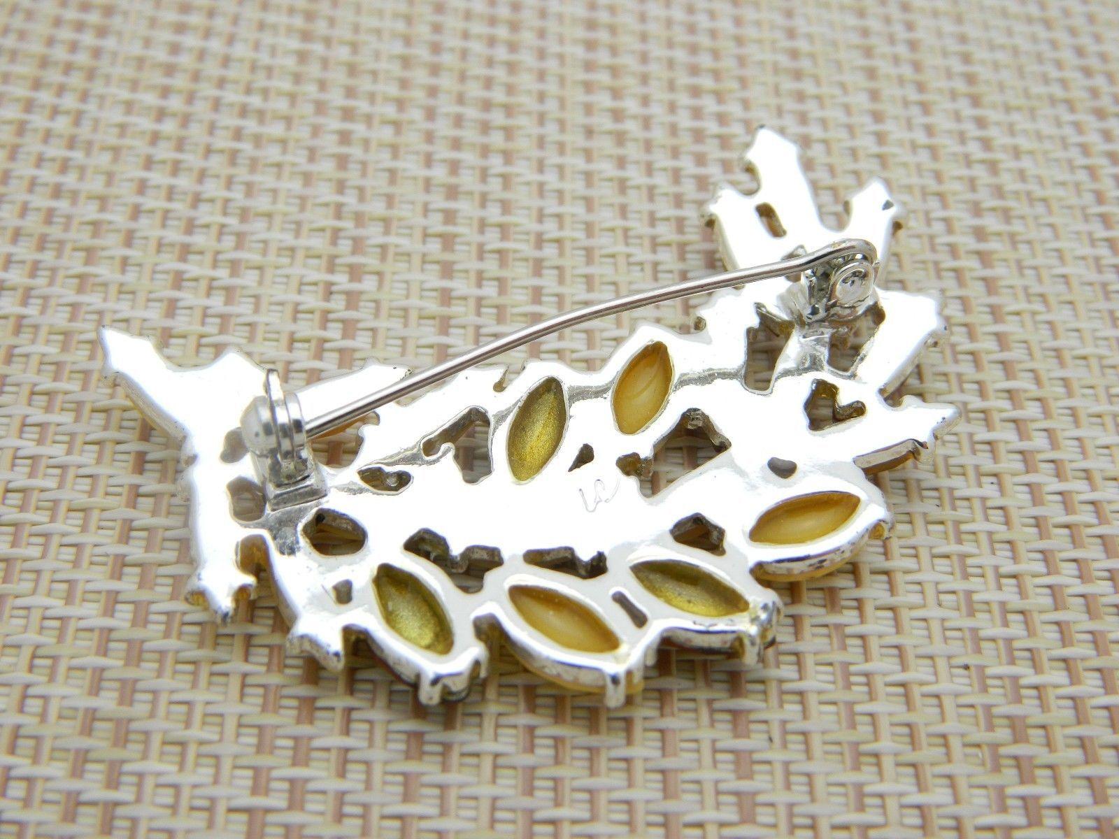 LC Liz Claiborne Yellow Topaz Prystal Rhinestone Leaf Silver Tone Pin Brooch