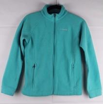 Columbia youth kids girls fleece jacket green zipper polyester size L 14-16 - $13.91