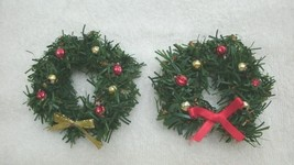 New hand embellished Christmas ornament - pair life-like mini wreaths, l... - $9.99