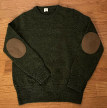 J. Crew Crewcuts Elbow Patch Crewneck Sweater 6/7 Green Wool Sweater 04154 - $14.82
