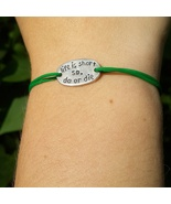 Sterling silver inspirational quote bracelet 'Life is short so do or die' - $36.00