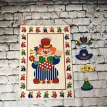 Vintage Quilted Fabric Wall Hanging Nursery Clown with Interchangeable Hats - $29.69