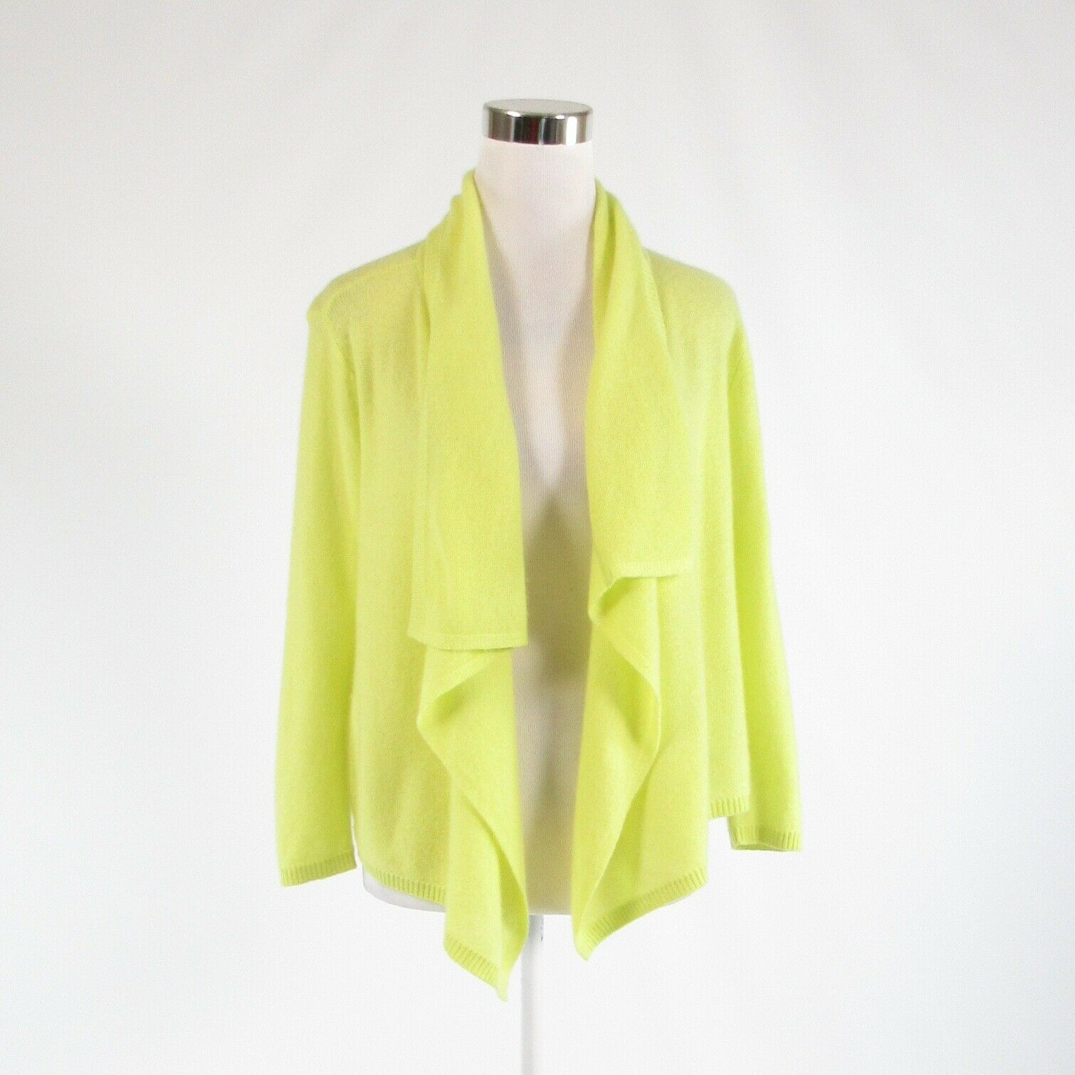 Primary image for Light neon yellow 100% cashmere MAGASCHONI 3/4 sleeve swing sweater M