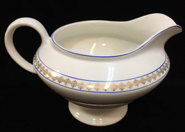 KTK  Pitcher Large Gravy Boat Sauce Ivory w/ Blue & Gold Trim Knowles Ta... - $21.77