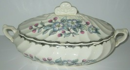 Vintage Royal China Covered Serving Bowl  Blue Floral Belvidere Platinum  - $10.36
