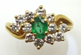 10k Oval Genuine Natural Emerald Ring with Diamonds (#3609) - $363.38