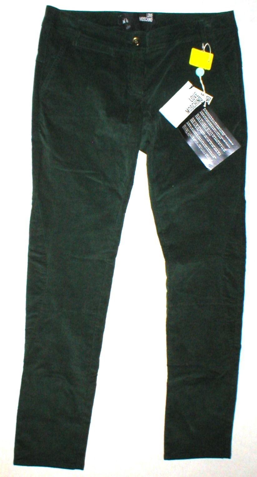 New NWT Womens 4 Dark Designer Love Moschino Green Velvet Pants Corduroy Skinny