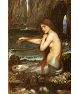 A Mermaid Poster 20x30 John William Waterhouse Combing Hair Art Print Me... - $39.99