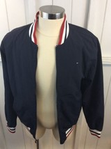 Tommy Hilfiger Blue Box Logo Zip Up Lined Jacket Size L Members Only Style image 2
