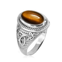 Sterling Silver Celtic Trinity Band Tiger Eye Gemstone Statement Ring - $69.99