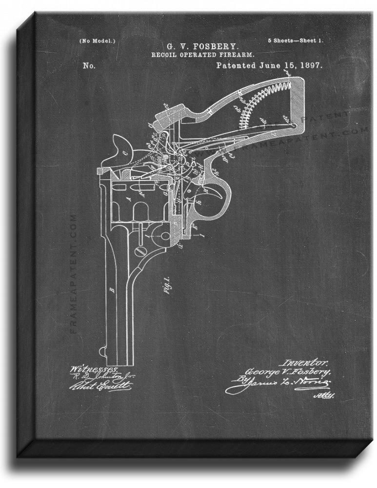 Primary image for Recoil Operated Firearm Patent Print Chalkboard on Canvas