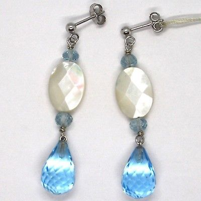 Drop earrings 18k White Gold, Topaz Blue, madrepela, Aquamarine