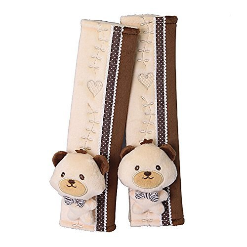 a Pair of Baby Kid Car Seat Strap Cover Toddler Infant Stroller Strap Cover BEAR