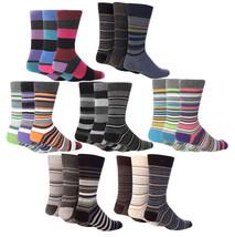 Giovanni Cassini - 6 Pack of Mens Colorful Striped Cotton Rich Crew Dress Socks - $14.99