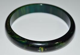 VTG Dark Green Yellow Marbled End of Day BAKELITE TESTED Bangle Bracelet... - $123.75
