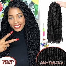 7 Packs Pre-twisted Passion Twist Crochet Hair Pre-looped Passion Twist ... - $48.83