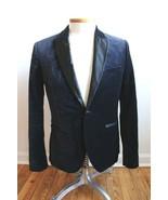 H&M 38R Dark Blue Velvet Tuxedo Lapel Slim Fit One Button Blazer Suit Ja... - $32.78