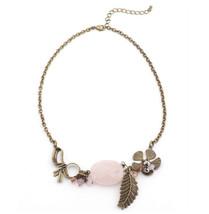 Natural Vintage Leaf Flower Rustic Glam Garden Rose Quartz Bow Stone Necklace - $29.95