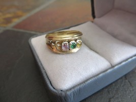 Art Deco /Victorian 10k Yellow gold Band ring with 3 Stones Purple/Green... - $139.99