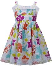 Bonnie Jean Little Girl 2T-6X Aqua-Blue Multi Lace Trim Floral Bird Print Dress