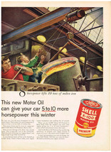 Vintage 1955 Magazine Ad Shell Motor Oil Boosts Horsepower & Protects The Engine - $5.93
