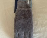 Isotoner Grey Gloves - Heather Knit Soft Warm Fleece Lined Suede Palm - One Size