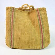 Vintage 90s Burlap Mesh Sack Boho Hippie Tote Beach Hand Bag Satchel Pur... - $38.60