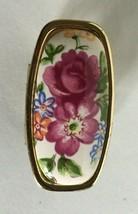 """Rare Vintage Finger Mirror Goldtone Metal with Clip Floral Designs 2""""  Japan - $17.77"""