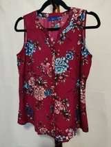 Apt. 9 women's size S sleeveless top maroon floral SS v-neck button up EUC - $7.33