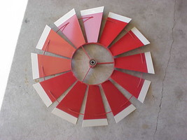 """REPLACEMENT 24"""" FAN ONLY (Red with White Tips) 8 ft Steel Windmills 26- ... - $52.99"""