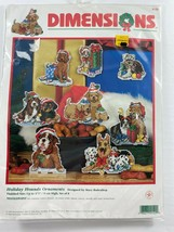 Dimensions 9120 Holiday Hounds Needlepoint 8 Dog Ornament Kit New Sealed - $49.45