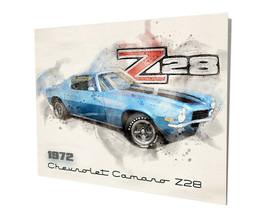 1972 Chevrolet Camaro Z28 Blue Muscle Car Design 16x20 Aluminum Wall Art - $59.35