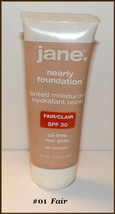 "Jane ""Nearly Foundation"" Tinted Moisturize Oil Free #01 Fair   FREE MAKE... - $12.95"