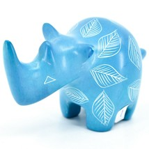 Vaneal Group Hand Carved Kisii Soapstone Blue Rhinoceros Figurine Made Kenya image 2