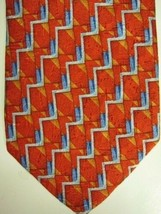 NEW Ermenegildo Zegna Orangey Red, Blue and Silver Silk Tie Italy - $74.53
