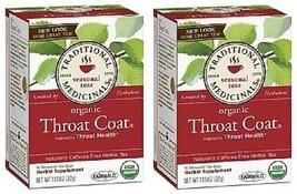Traditional Medicinals Tea Organic Throat Coat 2 Box Pack - $17.77