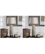 PAIR URBAN DESIGNER EMBOSSED SAGE GRAY CERAMIC TABLE LAMP AGED BRASS METAL - $369.60