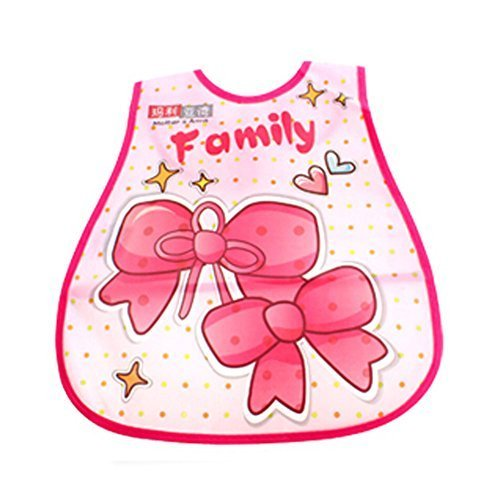 Lovely Bowknot Adjustable Waterproof PVC Baby Bib Pocket Protect Bib 4528CM