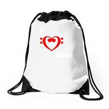 I Love Heart Bass Guitar Music Drawstring Bags - $35.00